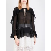 Alberta FerrettiSheer Ruffle-Detail Silk Blouse, Womens, Size: 14, Black