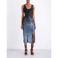 SelfridgesFRENCH CONNECTION Starlight Sparkle sequinned midi dress, Womens, Size: 14, Grey