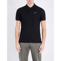 GivenchyLeather-Badge Cotton-Piqué Polo Shirt, Mens, Size: Medium, Black