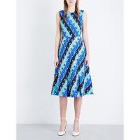 SelfridgesMARY KATRANTZOU Osmond stretch-crepe midi dress, Womens, Size: 10, Lion Stripe Blue