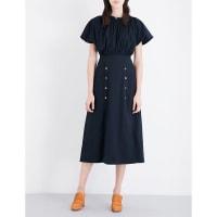 SelfridgesSALONI Dakota stretch-cotton midi dress, Womens, Size: 8, Blue