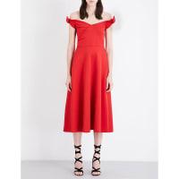 SelfridgesSALONI Ruth off-the-shoulder stretch-neoprene midi dress, Womens, Size: 16, Chilli