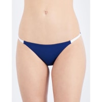 SelfridgesSOLID & STRIPED The Morgan bikini bottoms, Womens, Size: Medium, Navy Cream