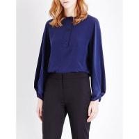 SelfridgesSPORTMAX Pisano silk-georgette top, Womens, Size: 16, Midnight Blue
