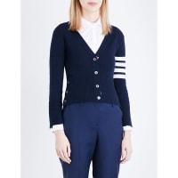 Thom BrowneStripe-Detail Cashmere Cardigan, Womens, Size: 12, Blue