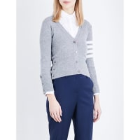 Thom BrowneStripe-Detail Cashmere Cardigan, Womens, Size: 8, Light Grey