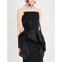SelfridgesTONI MATICEVSKI Trinity woven bustier top, Womens, Size: 6, Black Sheen