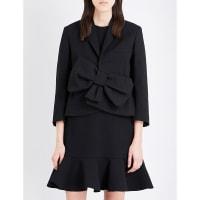 SelfridgesVICTORIA VICTORIA BECKHAM Bow-detail wool-blend jacket, Womens, Size: 12, Black