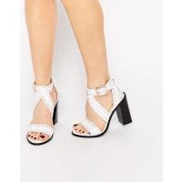 SensoUna White Stud Leather Heeled Sandals - White