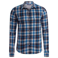 Sergio K.Camisa Masculina Xadrez Mescla Azul - Cinza