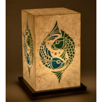 Shady IdeasBeige & Blue Green Handcrafted Lamp