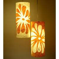 Shady IdeasYellow Printed Steel Lamp