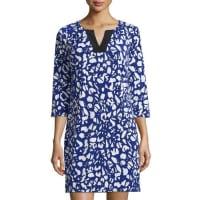 Shelli Segal3/4-Sleeve Printed Jersey Dress, Jubilee Blue
