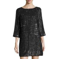 Shelli SegalBeaded 3/4-Sleeve Cocktail Dress, Gray Metallic