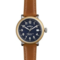 ShinolaRunwell Coin Edge Watch with Sunflower Leather Strap, 38mm