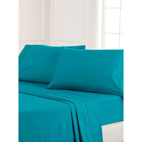 Simons MaisonBlue percale plus sheet, 200 thread count Fits mattresses up to 15 in