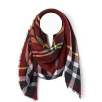 SimonsRed tartan blanket scarf