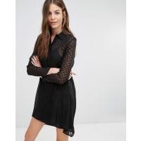 SisleyChevron Shirt Dress - Black