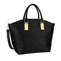 SIXBasic große Damen Handtasche, schwarzer, eleganter Shopper mit goldenen Akzenten, Fashion, Henkel und Umhänge Riemen (427-400)