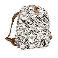 SIXEthno großer Rucksack Damen Handtasch mit Reissverschlusstasche aus Canvas Stoff schwarz-weißes Ikat-Muster, braune Kunstleder Riemen (463-164)