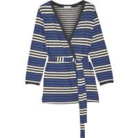 SkinBianca Striped Cotton-jersey Robe - Blue