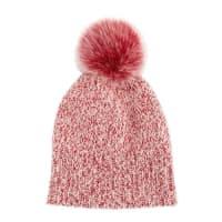 SofiacashmereMarled Cashmere Pompom Beanie Hat, Red