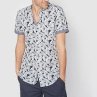 Soft GreyBedrukt hemd met maokraag