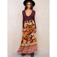 Somedays LovinWomens Somedays Lovin Shes A Wildflower Maxi Skirt Brown/Orange S/10