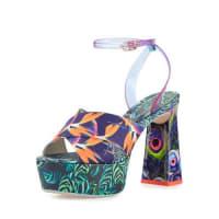 Sophia WebsterEffie Tropical-Print Platform Sandal, Navy/Green