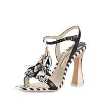 Sophia WebsterLayla Striped Tassel Sandal, Black/White