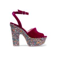 Sophia WebsterHavisham Embellished Velvet Platform Sandals - Burgundy
