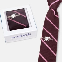 SoxfordsSilk Knit Tie & Hand-Finished Tie Bar SetBrown Pink Striped Tie / Skull Tie Bar