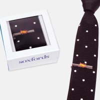 SoxfordsSilk Knit Tie & Hand-Finished Tie Bar SetBlack Dotted Tie / Pow Tie Bar