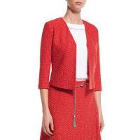 St. JohnCavalla Knit 3/4-Sleeve Jacket, Hibiscus/Multi