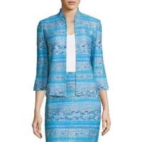 St. JohnImani Tweed Knit 3/4-Sleeve Jacket, Blue Pattern