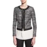 St. JohnPainted Metallic Embellished-Trim Jacket, Caviar/Silver Shimmer Multi
