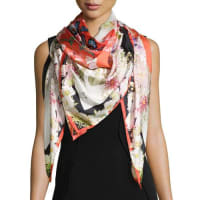 St. PieceChloris Floral-Print Square Silk Scarf, Red