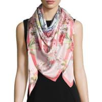 St. PieceDaphne Floral Silk Scarf, Pink