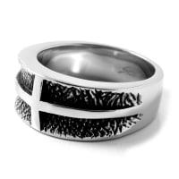 SteelczRobust Silverfärgad Ring med Kors