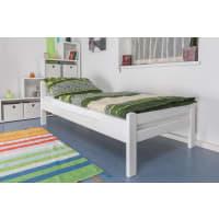 Steiner Shopping MöbelEinzelbett Easy Sleep K1/2n, Buche Vollholz massiv weiß lackiert - Maße: 90 x 200 cm