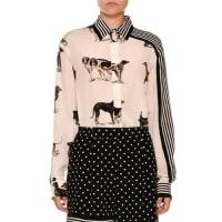 Stella McCartneyStripe-Trim Dog-Print Silk Blouse, White