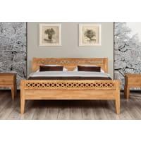 StilbettenMassivholzbett Bett Marne Eiche mit Fußteil und Bettkastenoption