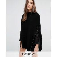 Stitch & PiecesPoncho aderente in maglia con zip - Nero