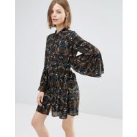 Style LondonSmock Dress With Fluted Sleeves - Black
