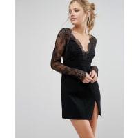 StylestalkerLace Sleeve Plunge Mini Dress - Black