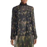 SunoLong-Sleeve Sheer Floral Silk Chiffon Top, Black/Gold