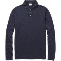 SunspelLong-sleeved Cotton-jersey Polo Shirt - Navy