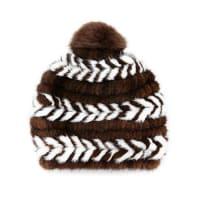 SurellMink Fur Beanie Hat, Brown/White