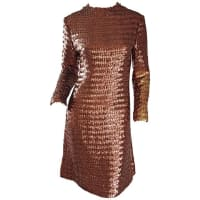Suzy Perette1960s Suzy Perette Bronze Ombre Fully Sequined A Line Vintage Long Sleeve Dress