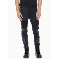 SystvmBlack faded marbled biker jean Skinny fit